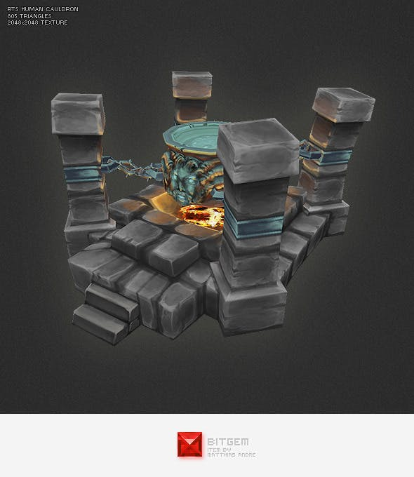 Low Poly RTS Human Cauldron - 3DOcean Item for Sale