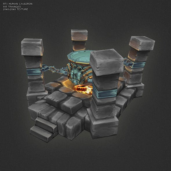 Low Poly RTS Human Cauldron