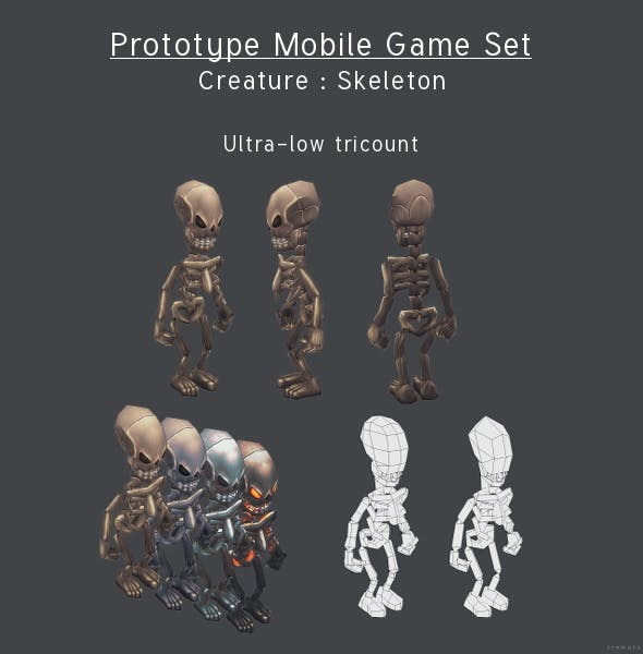 Prototype Mobile Game Set - Creature : Skeleton - 3DOcean Item for Sale