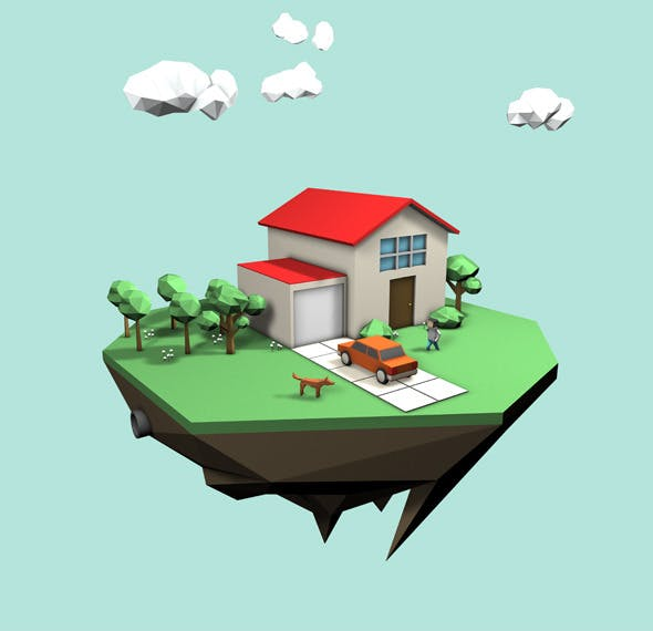 Low Poly Style - House Scene - 3DOcean Item for Sale