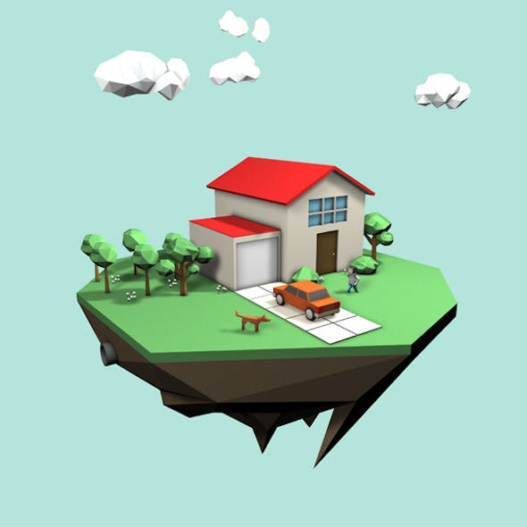 Low Poly Style - House Scene