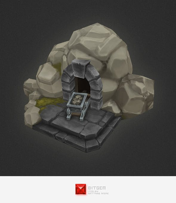 Low Poly RTS Human Mine - 3DOcean Item for Sale