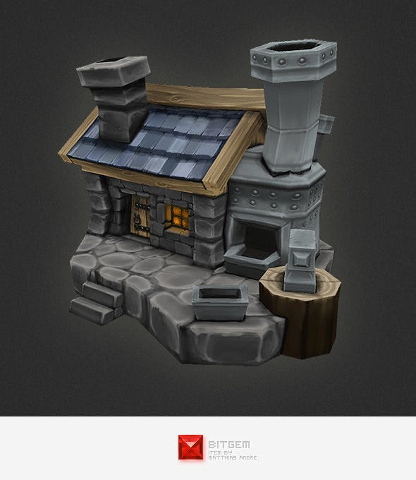 Low Poly RTS Human Smithy - 3DOcean Item for Sale