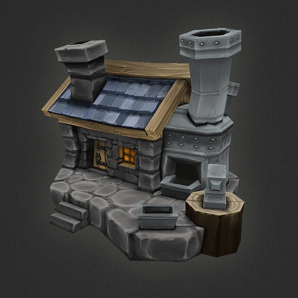 Low Poly RTS Human Smithy