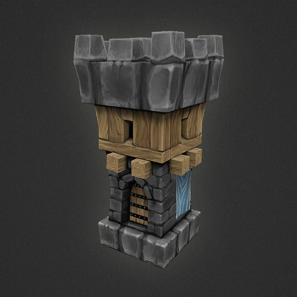 Low Poly RTS Human Guard Tower