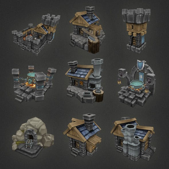 Low Poly RTS Human Building Set