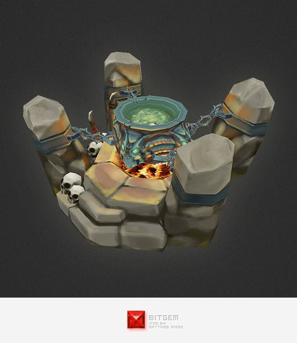 Low Poly RTS Orc Cauldron - 3DOcean Item for Sale