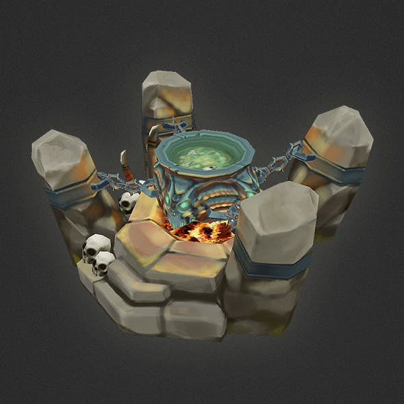 Low Poly RTS Orc Cauldron