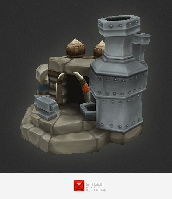 Low Poly RTS Orc Smithy - 3DOcean Item for Sale