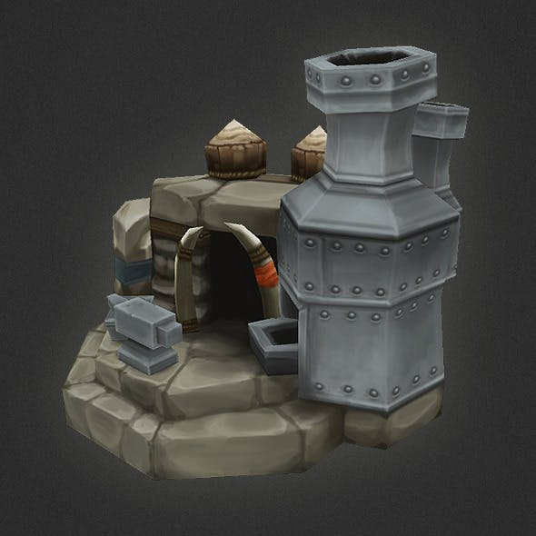 Low Poly RTS Orc Smithy