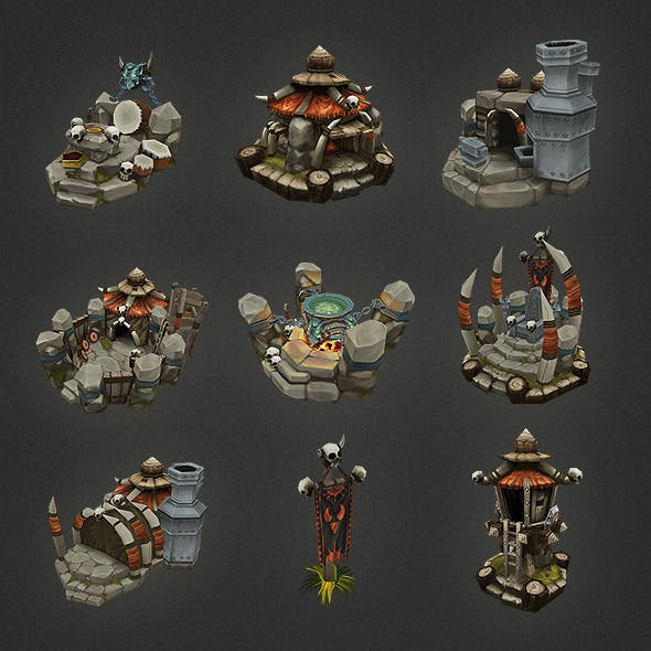 Low Poly RTS Orc Building Set