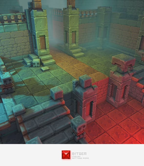Low Poly 3D Pixel Dungeon Set 01 - 3DOcean Item for Sale