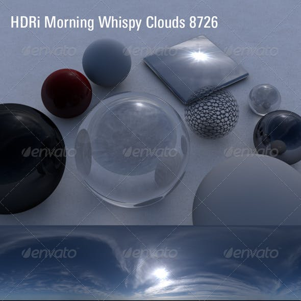 HDRi 360 Sky Dome Whispy Morning Hot Sun 8726