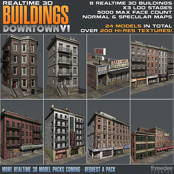 Realtime 3D Buildings Pack - Downtown V1