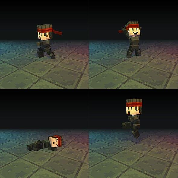 Low Poly 3D Pixel Man