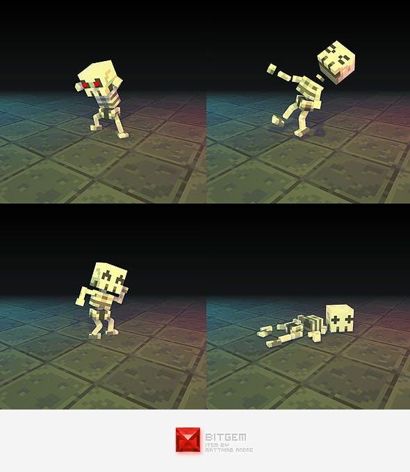 Low Poly 3D Pixel Skeleton - 3DOcean Item for Sale