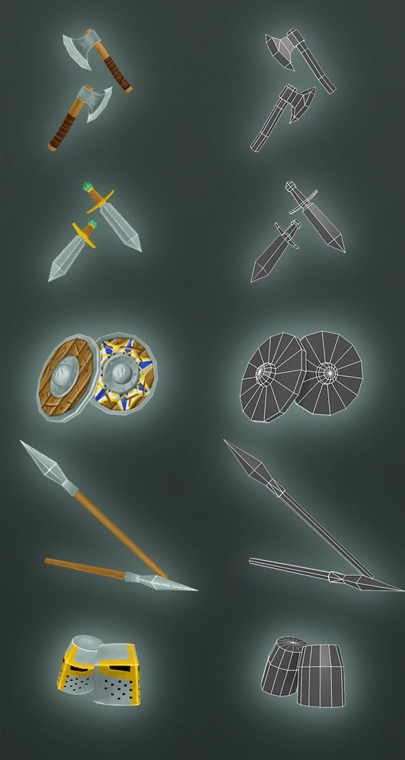 Low Poly Armor Pack - 3DOcean Item for Sale