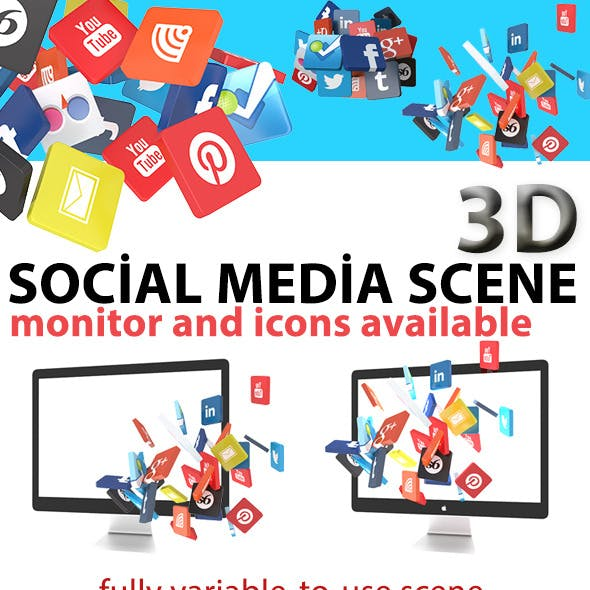 Monitor Scene with 3d Social Icons