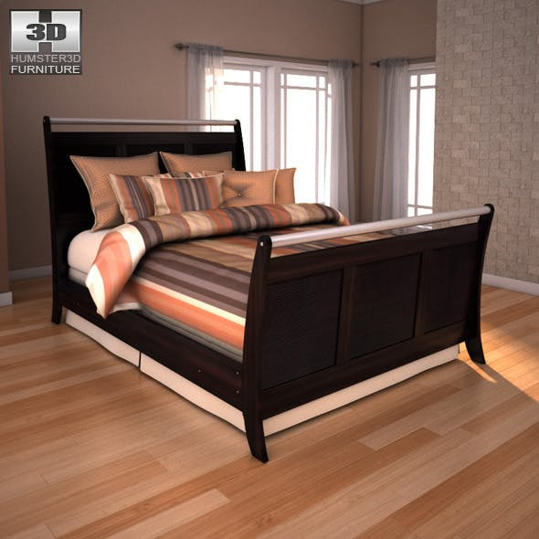 Ashley  Pinella Queen Sleigh Bed - 3DOcean Item for Sale