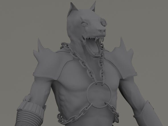 Zombie Cyborg Werewolf with a Chainsaw Gun Arm - 3DOcean Item for Sale