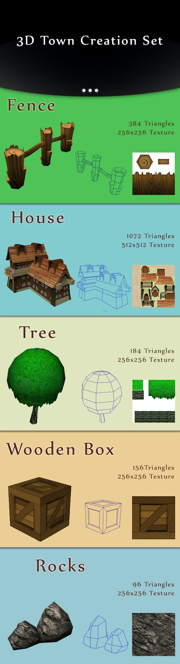 Low-Poly Town Creation Set - 3DOcean Item for Sale