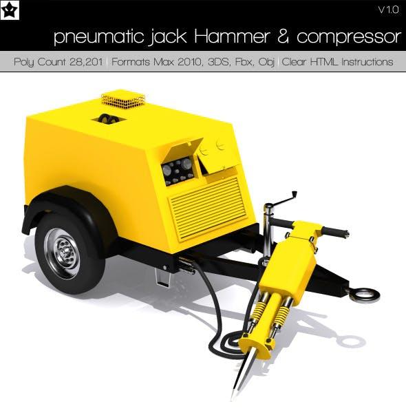pneumatic jack Hammer and compressor - 3DOcean Item for Sale