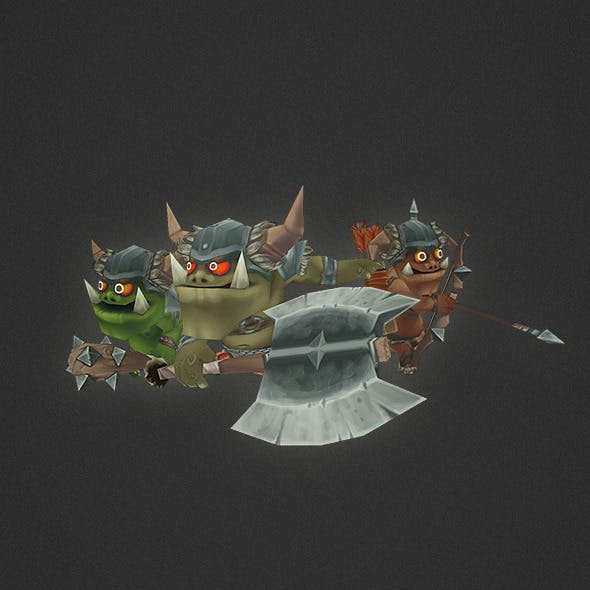 Low Poly Orc Character Set