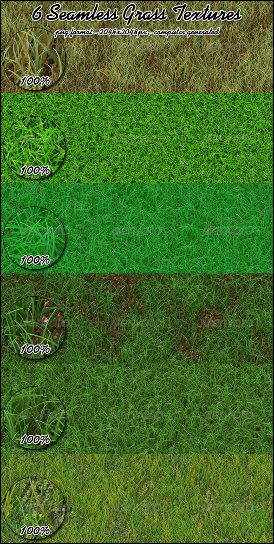 6 Seamless Grass Textures - 3DOcean Item for Sale