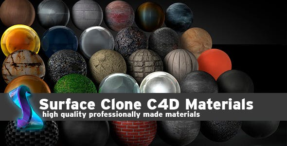 Surface Clone C4D materials - 3DOcean Item for Sale