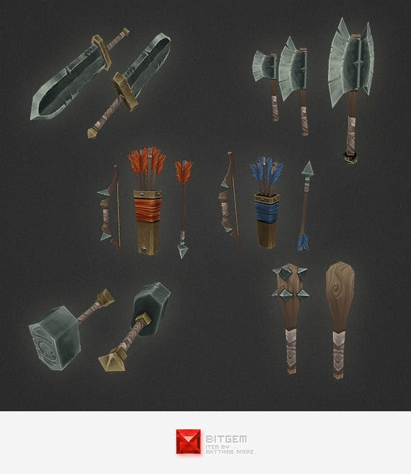 Low Poly Weapon Set 05 - 3DOcean Item for Sale