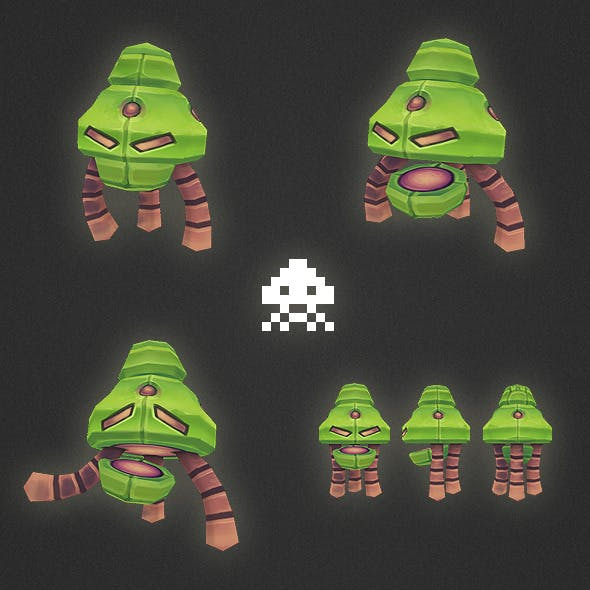Low Poly Space Invader Alien 01