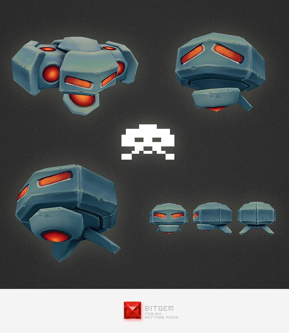 Low Poly Space Invader Alien 02 - 3DOcean Item for Sale