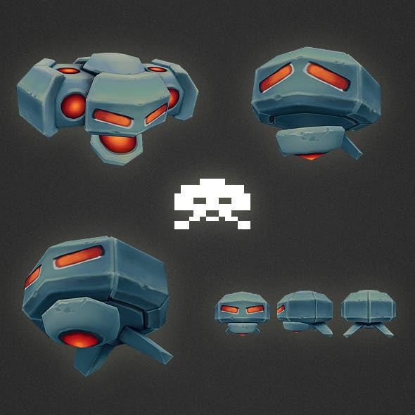 Low Poly Space Invader Alien 02