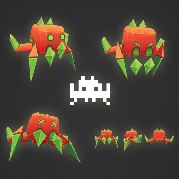 Low Poly Space Invader Alien 03