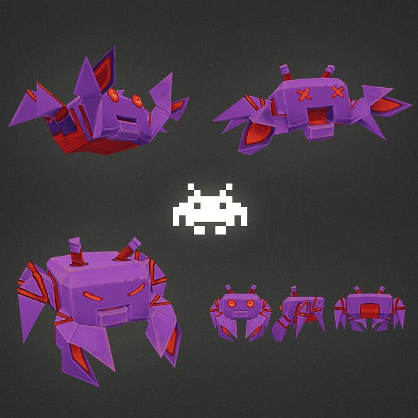 Low Poly Space Invader Alien 04