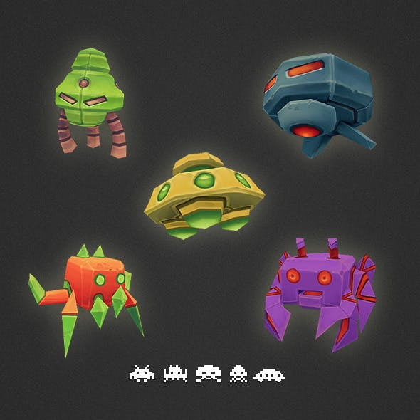 Low Poly Space Invader Set