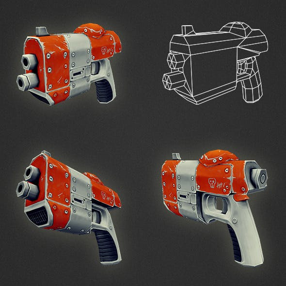 Low Poly Gun 02