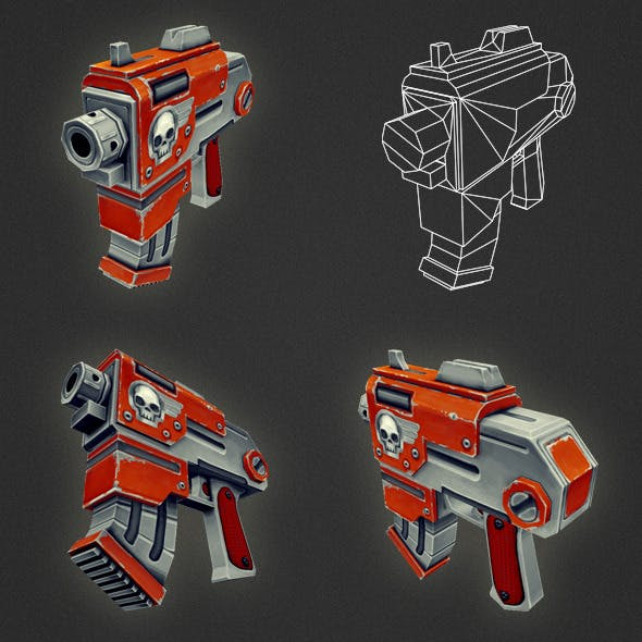 Low Poly Gun 03