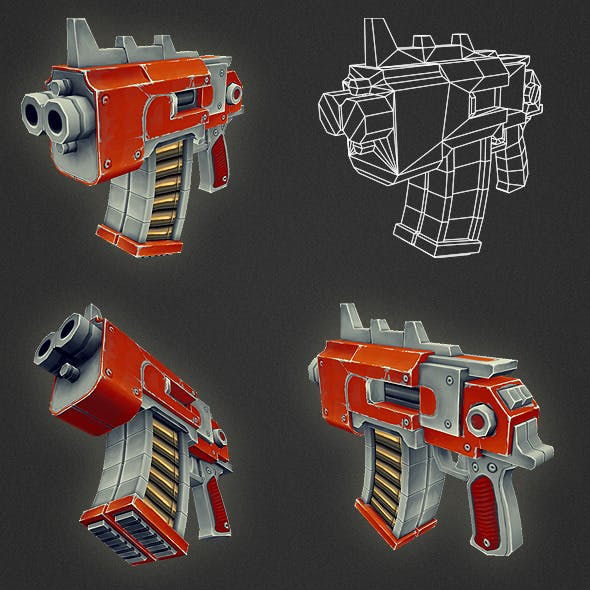 Low Poly Gun 05