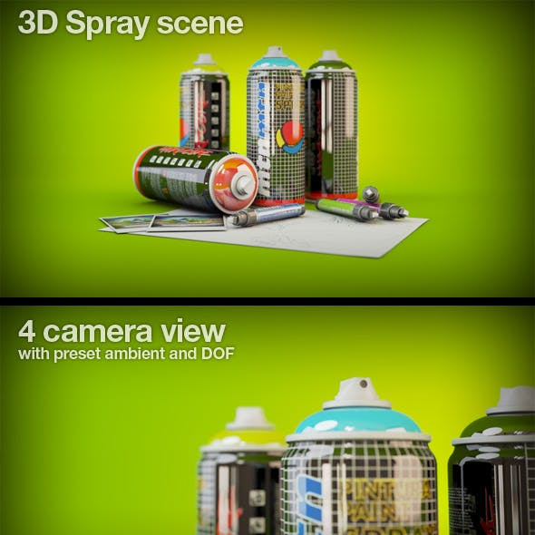 3D Spray and markers scene