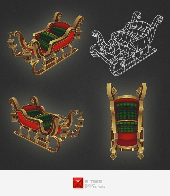 Low Poly Sleigh - 3DOcean Item for Sale