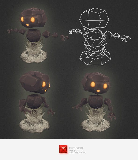 Low Poly Stone Elemental - 3DOcean Item for Sale