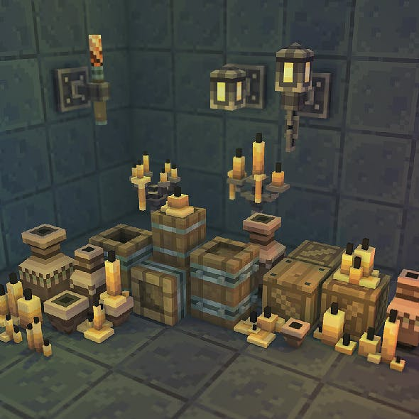 Low Poly 3D Pixel Dungeon Deco Set 01