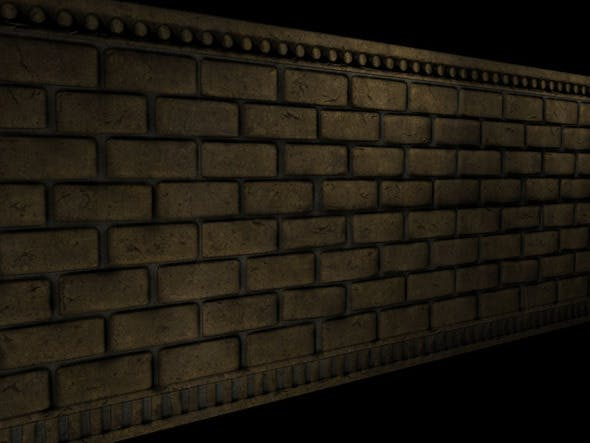 Brick Wall Section - 3DOcean Item for Sale