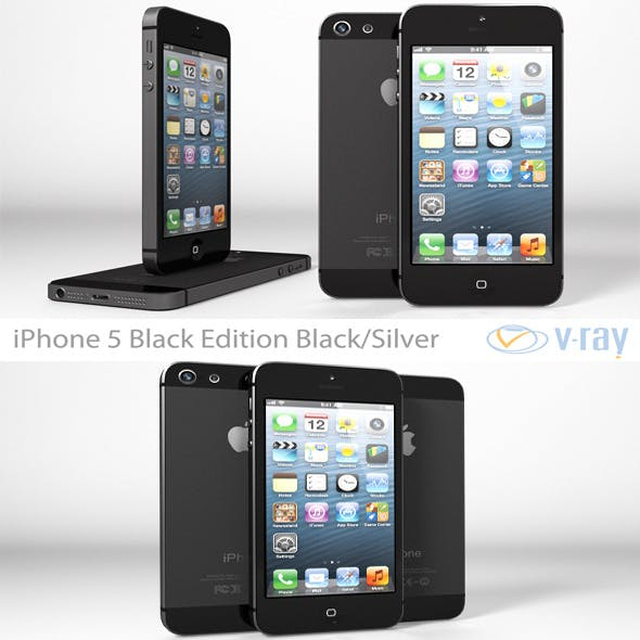 Apple iPhone 5 Black Edition Black/Silver Vray - 3DOcean Item for Sale
