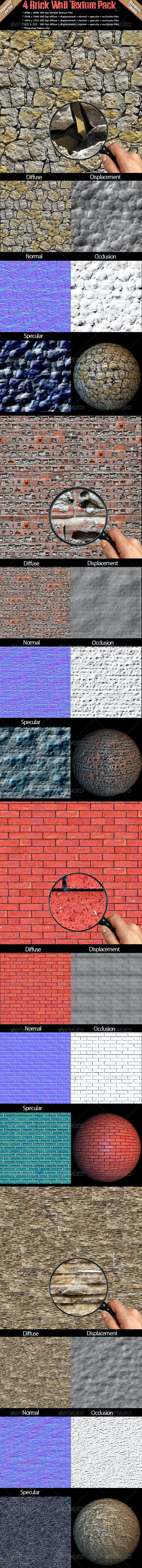 4 Brick Wall Texture Pack - 3DOcean Item for Sale