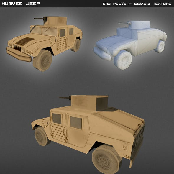 Humvee Jeep Lowpoly