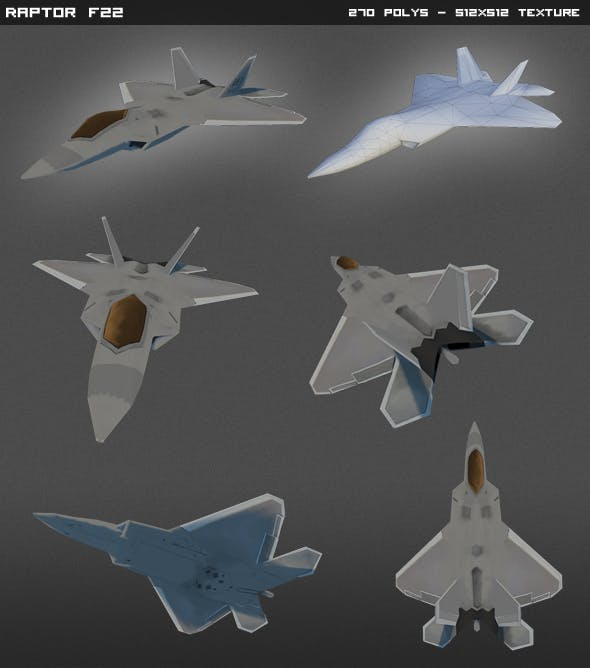 F22 Raptor Lowpoly - 3DOcean Item for Sale
