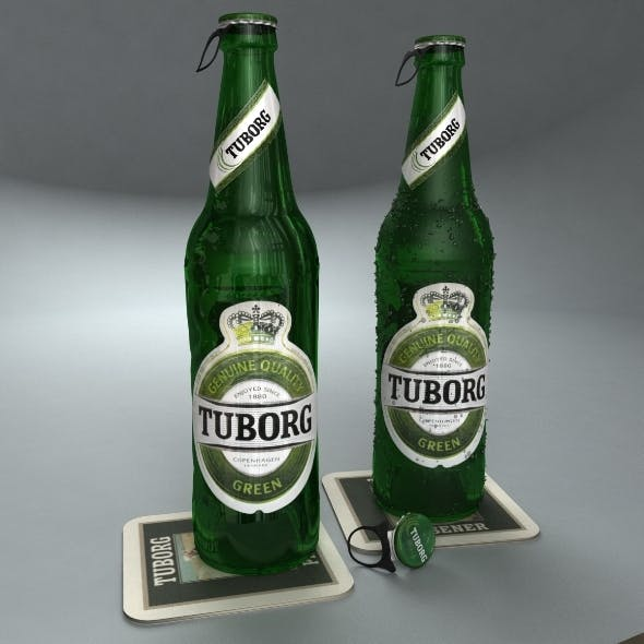 Tuborg Green Beer Bottle