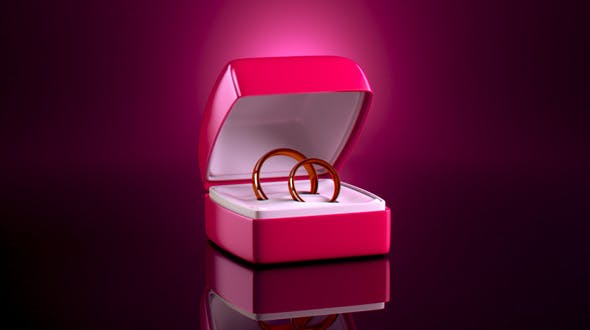 Realistic Gift Box with Two Rings - 3DOcean Item for Sale